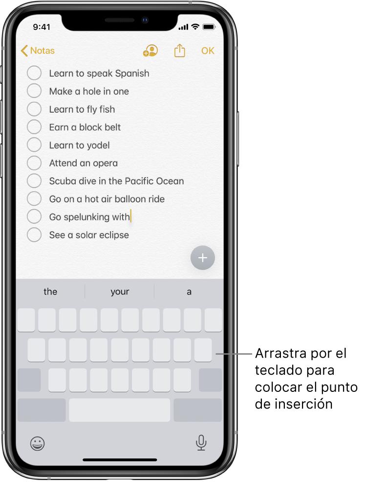 Nota en proceso de edición tras convertir el teclado en un trackpad. El teclado se muestra atenuado para indicar que ahora funciona como un trackpad.