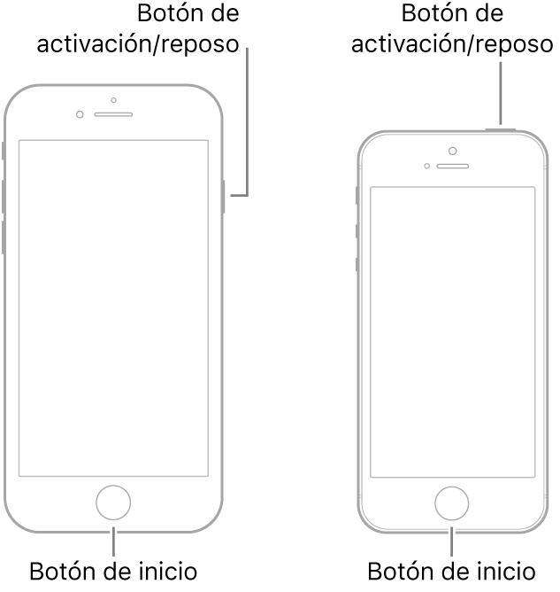 Ilustraciones de dos modelos de iPhone, con las pantallas mirando hacia arriba. Ambos tienen un botón de inicio cerca de la parte inferior del dispositivo. El modelo de la izquierda tiene un botón de activación/reposo en el borde derecho del dispositivo, cerca de la parte superior, mientras que el de la derecha tiene un botón de activación/reposo en la parte superior del dispositivo, cerca del borde derecho.