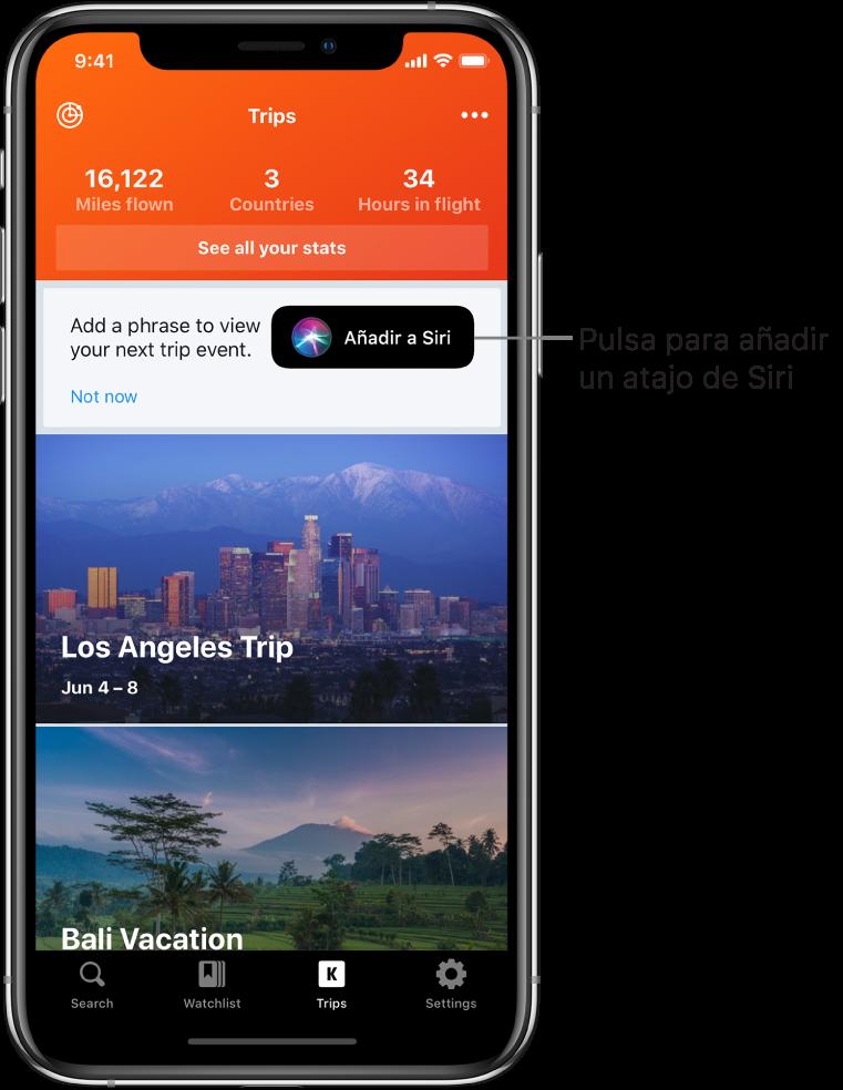 """Pantalla de una app de viajes. El botón """"Añadir a Siri"""" está a la derecha del texto que pone """"Añade una frase para ver tu próximo evento de viaje""""."""