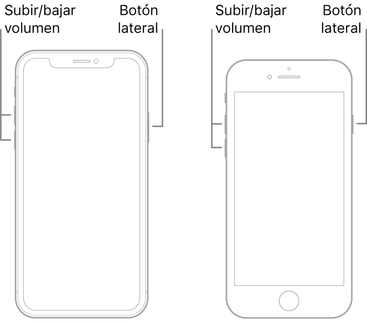 Ilustraciones de dos modelos de iPhone, con las pantallas mirando hacia arriba. El modelo de la izquierda no tiene botón de inicio, mientras que el de la derecha lo tiene cerca de la parte inferior del dispositivo. En ambos modelos, los botones de subir y bajar volumen se encuentran en el lado izquierdo del dispositivo y, en el derecho, hay un botón lateral.