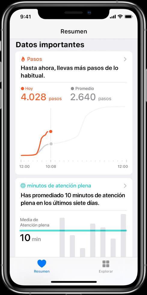 """La pantalla Resumen en la app Salud con datos importantes sobre los pasos que lleva el usuario ese día. Se lee el mensaje """"Hasta ahora, llevas más pasos de lo habitual"""". Se ve una gráfica que indica hasta el momento 4028pasos ese día, en comparación con los 2640pasos a la misma hora ayer. Debajo de la gráfica hay información sobre los minutos de atención plena completados. El botón Resumen está en la parte inferior izquierda, mientras que en la parte inferior derecha se encuentra el botón Explorar."""