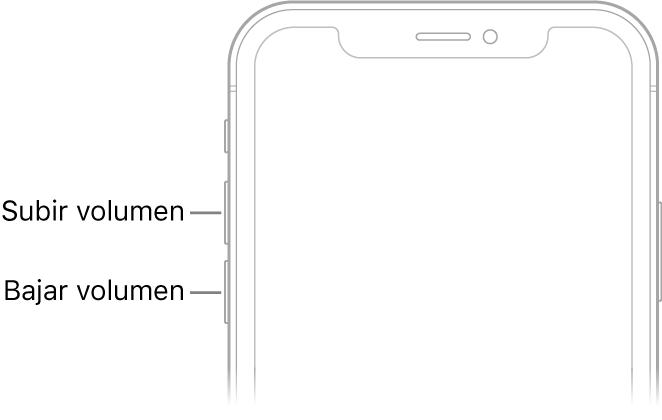 Parte superior del frontal del iPhone con los botones de subir volumen y bajar volumen en la parte superior izquierda.