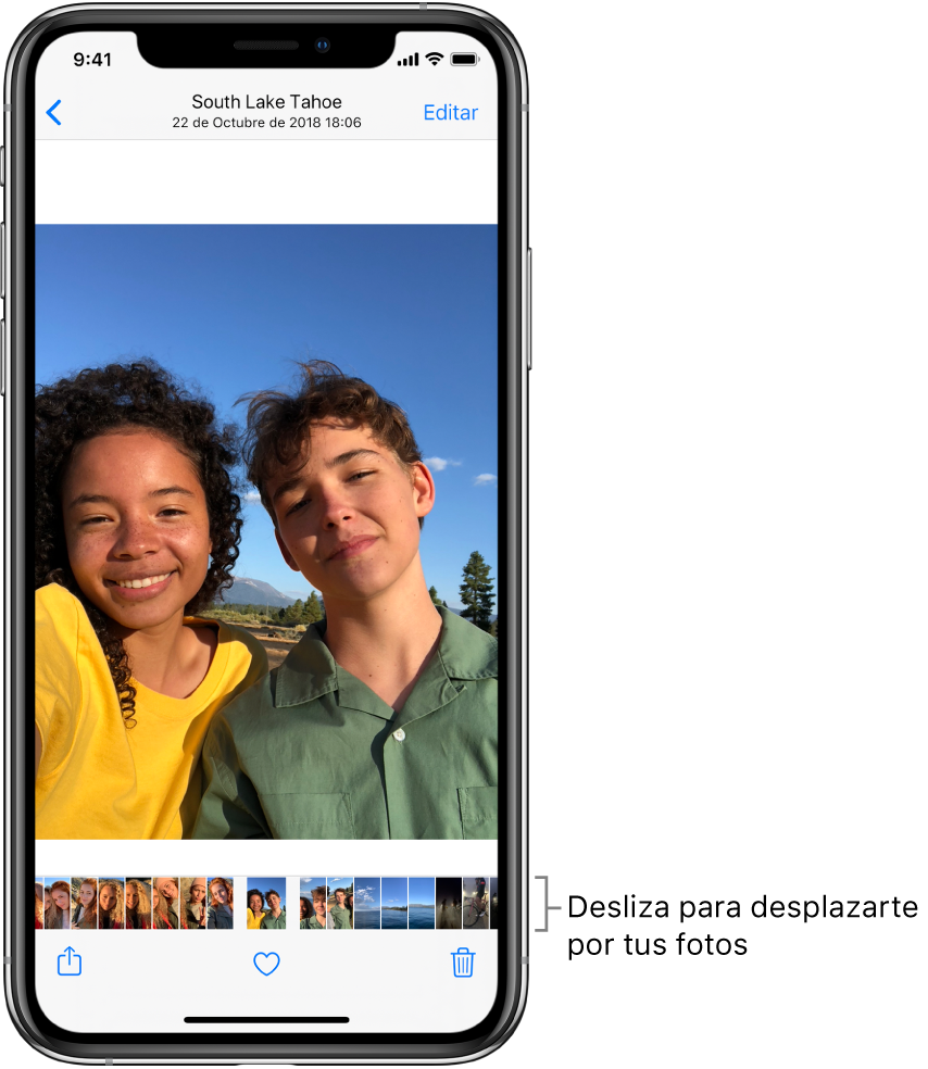 """Foto con miniaturas de otras fotos en la parte inferior de la pantalla. Arriba a la izquierda hay un botón de retroceder, que te lleva a la visualización en la que estabas explorando. Abajo están los botones Compartir, """"Me gusta"""" y Eliminar. En la parte superior derecha está el botón Editar."""