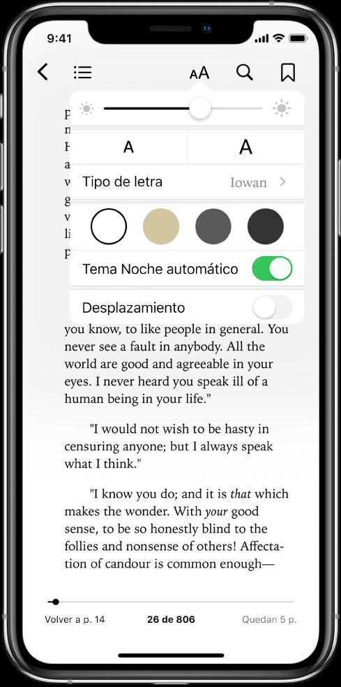 Menú de aspecto con los controles (de arriba a abajo) de brillo, tamaño de letra, estilo de letra, color de página, tema noche automático y desplazamiento.