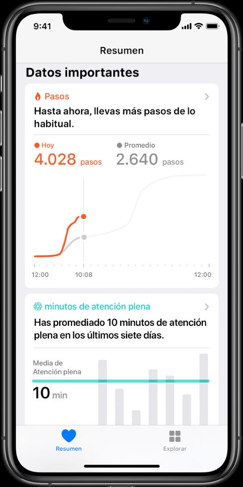 """La pantalla Resumen en la app Salud con datos importantes sobre los pasos que lleva el usuario ese día. Se lee el mensaje """"Hasta ahora, llevas más pasos de lo habitual"""". Se ve una gráfica que indica que el usuario lleva hasta el momento 4028pasos ese día, en comparación con los 2640pasos que llevaba a la misma hora ayer. Debajo de la gráfica hay información sobre los minutos de atención plena completados. El botón Resumen está en la parte inferior izquierda, mientras que en la parte inferior derecha se encuentra el botón Explorar."""