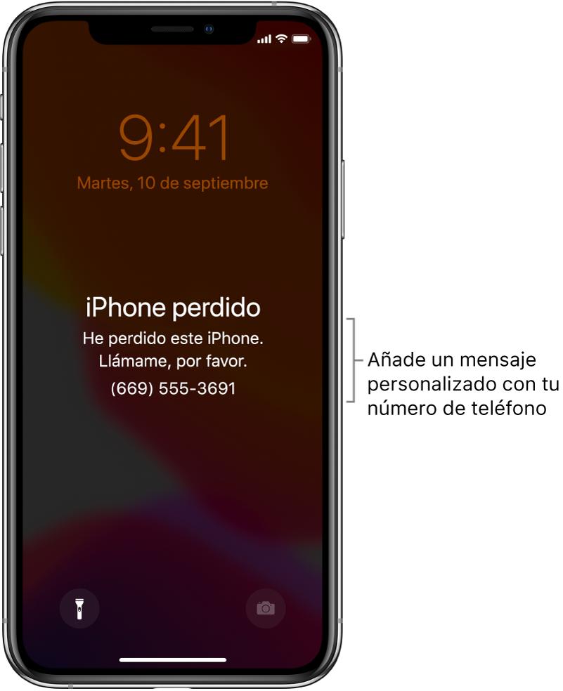 """Pantalla bloqueada de un iPhone con el mensaje: """"iPhone perdido. Este iPhone se ha perdido. Llámame. 669555369"""". Puedes añadir un mensaje personalizado con tu número de teléfono."""