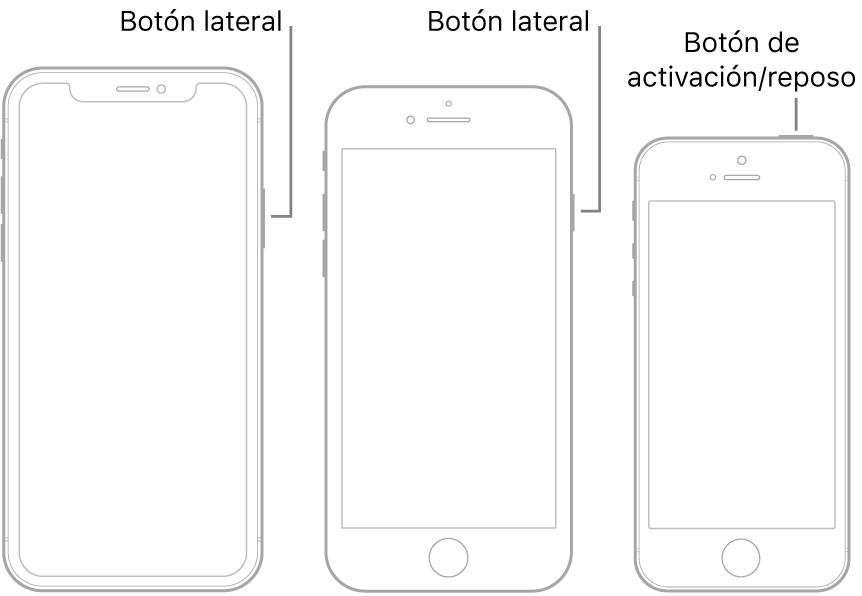 El botón lateral o de activación/reposo en tres modelos de iPhone diferentes.