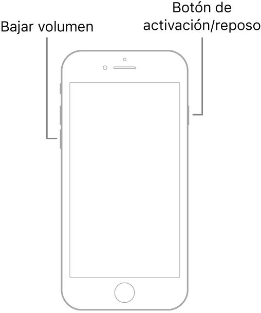 Ilustración de un iPhone7 con la pantalla hacia arriba. Los botones de subir y bajar volumen se encuentran en el lado izquierdo del dispositivo y, en el derecho, está el botón de activación/reposo.