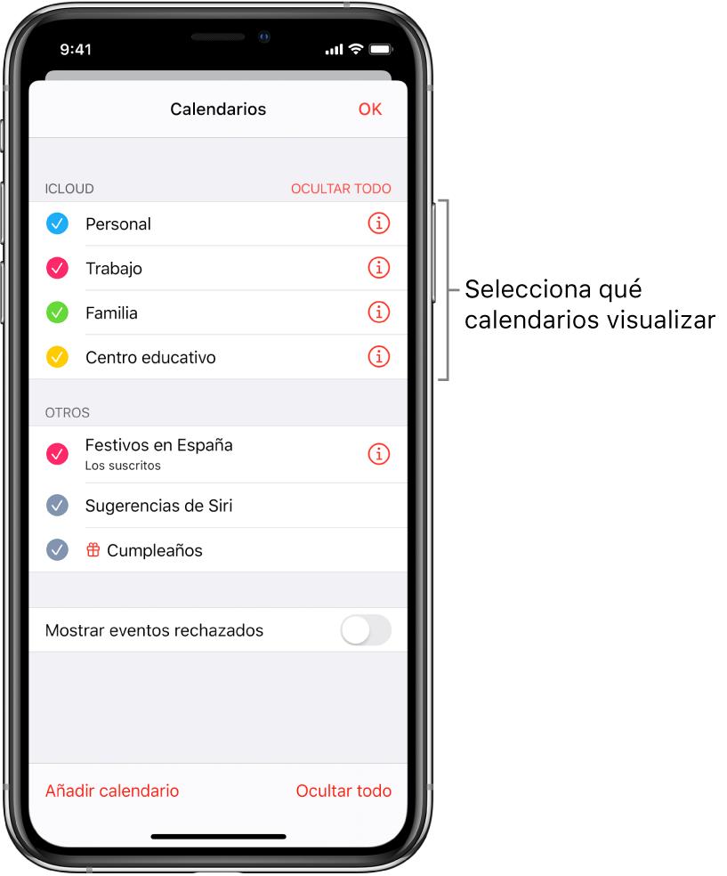 Lista de calendarios con marcas de verificación que indican qué calendarios están activos. El botón OK para cerrar la lista se encuentra en la esquina superior derecha.
