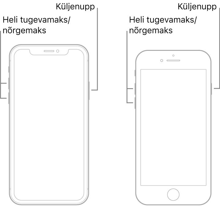 Kahe iPhone'i mudeli joonised, kus nende ekraanid on suunatud ülespoole. Vasakpoolsemal mudelil pole Kodunuppu ning parempoolsemal mudelil on seadme alaosas Kodunupp. Mõlema mudeli puhul asuvad helitugevuse suurendamise ja vähendamise nupud seadme vasakul küljel ning küljenupp paremal küljel.