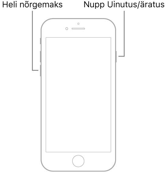 Mudeli iPhone 7 pilt ekraaniga üleval. Helitugevuse vähendamise nupp asub seadme vasakul küljel ning nupp Uinutus/äratus paremal küljel.