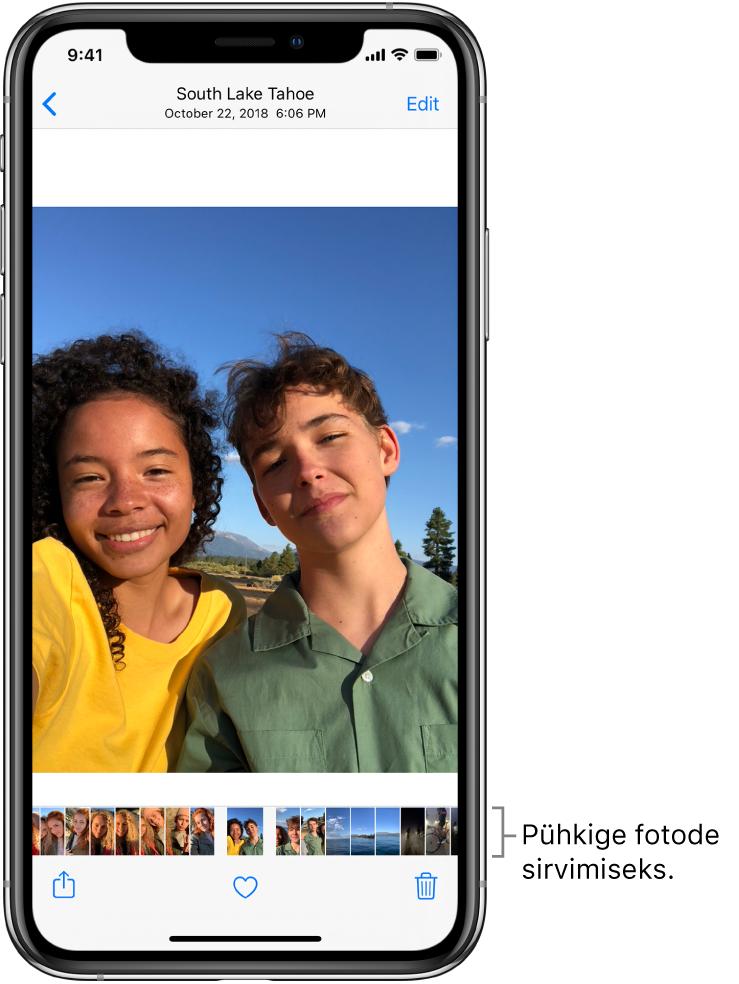 Foto koos teiste fotode pisipiltidega ekraani allservas. Üleval vasakul asub tagasi-nupp, mis viib teid tagasi sirvitavasse vaatesse. Alaosas asuvad nupud Share, Like ja Delete. Paremal üleval asub nupp Edit.