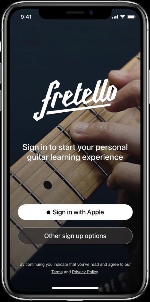 Appi, jossa näkyy Kirjaudu sisään Applella -painike.