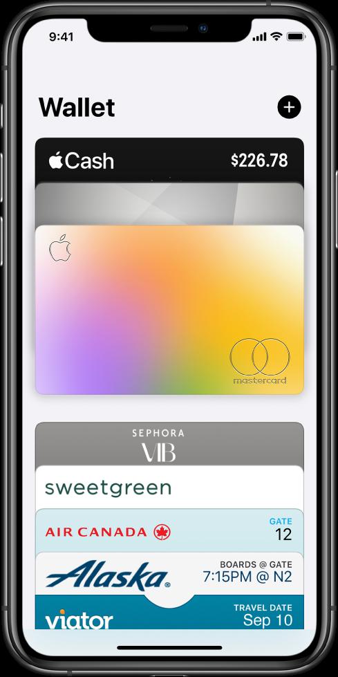 Näytöllä on Wallet-appi. Näytön yläosassa on kolme luottokorttia. Näytön alaosassa on useita lentoyhtiöiden ja kiertomatkojen lippuja.