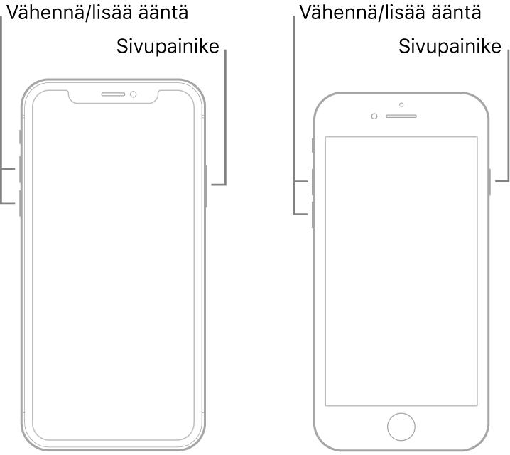 Kuvat kahdesta iPhone-mallista näyttö ylöspäin. Vasemmanpuolimmaisessa mallissa ei ole Koti-painiketta. Oikeanpuolimmaisimmassa mallissa Koti-painike on laitteen alareunan lähellä. Äänenvoimakkuuden lisäys- ja vähennyspainikkeet ovat molemmissa malleissa laitteen vasemmalla puolella ja sivupainike on oikealla puolella.