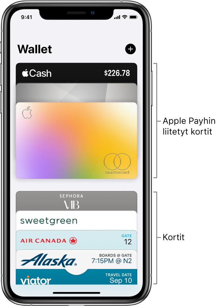 Wallet-näkymä, jossa näkyy useita luotto- ja pankkikortteja sekä muita kortteja.