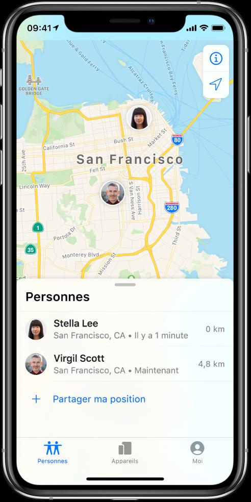 Il y a deux amis dans la liste Personnes: Stella Lee et Virgil Scott. Leur position est affichée sur un plan de San Francisco.