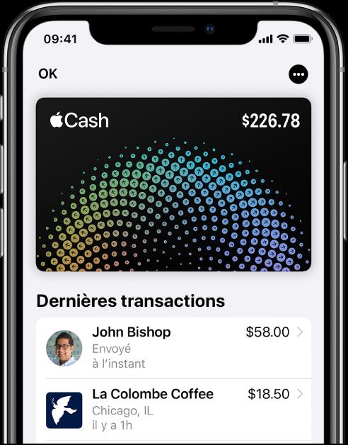 La carte AppleCash dans Wallet affichant le bouton Plus en haut à droite les dernières transactions qui figurent sous la carte.