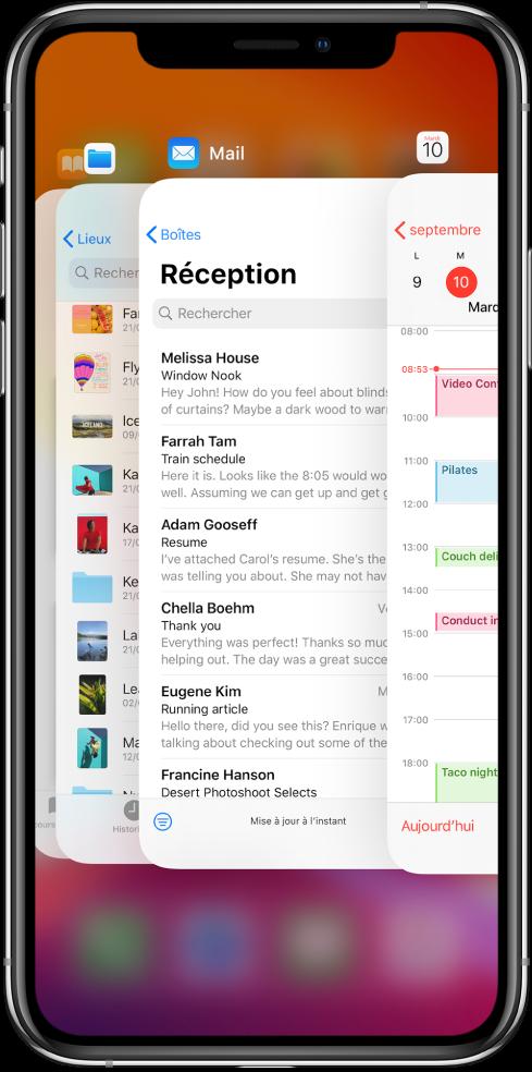 Le sélecteur d'app. Les icônes des apps ouvertes apparaissent en haut, et l'écran de chaque app apparaît sous son icône.
