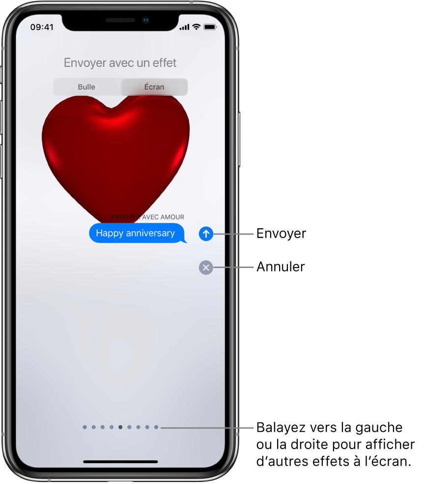 Aperçu d'un message affichant un effet de plein écran avec un cœur rouge.