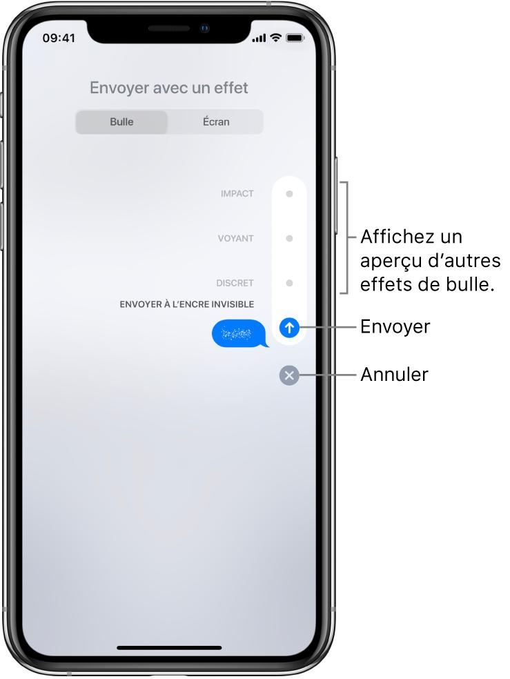 Aperçu d'un message contenant un effet d'encre invisible. Sur la droite, touchez une commande pour afficher un aperçu des autres effets de bulle. Touchez à nouveau cette commande pour envoyer, ou touchez le bouton Annuler situé en dessous pour revenir à votre message.