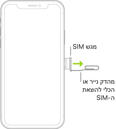 מהדק נייר או כלי להוצאת SIM מוכנסים לחור הקטן של המגש שנמצא בצד שמאל של ה‑iPhone על‑מנת להוציא ולהסיר את המגש.