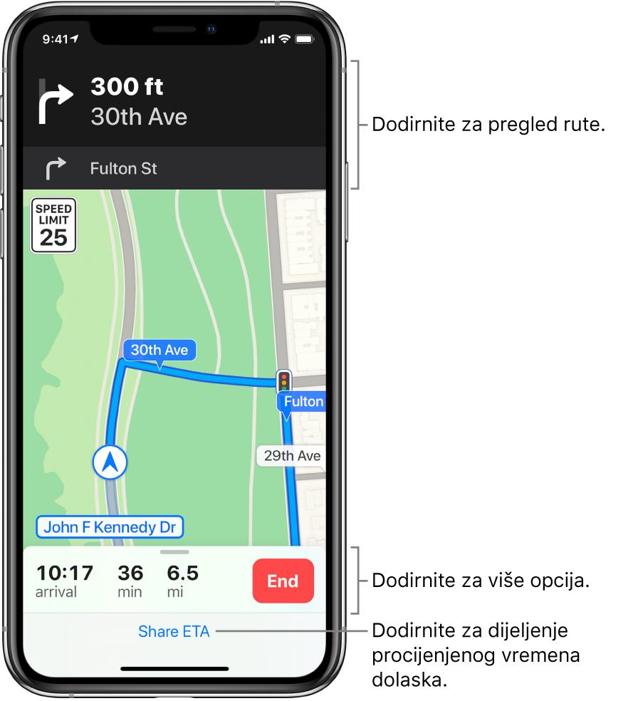 Karta prikazuje rutu za vožnju, uključujući upute da se za 90 metara skrene desno. Blizu dna karte, s lijeve strane tipke Završi, prikazuju se vrijeme dolaska, vrijeme putovanja i ukupan prijeđeni put. Dijeli vrijeme dolaska pojavljuje se na dnu zaslona