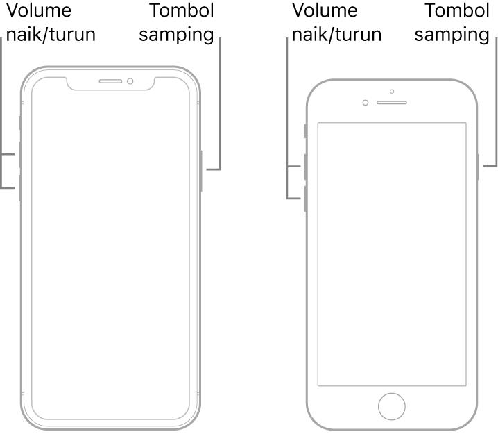 Ilustrasi dua model iPhone dengan layar menghadap ke atas. Model paling kiri tidak memiliki tombol Utama, sedangkan model paling kanan memiliki tombol Utama di dekat bagian bawah perangkat. Untuk kedua model, tombol volume naik dan volume turun ditampilkan di sisi kiri perangkat, dan tombol samping ditampilkan di sisi kanan.