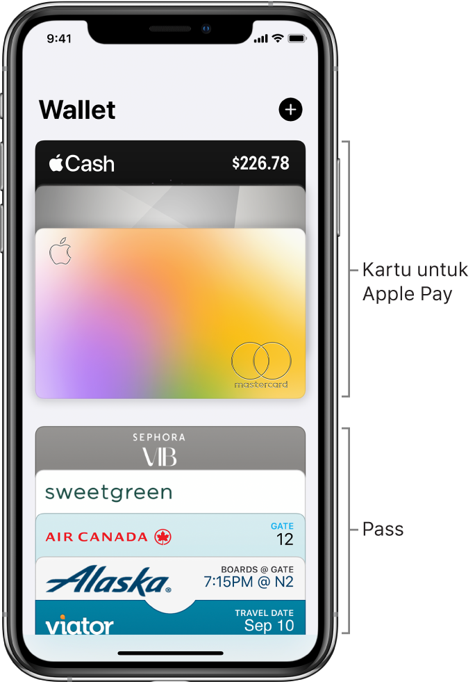 Layar Wallet, menampilkan beberapa kartu kredit dan debit, serta pass.