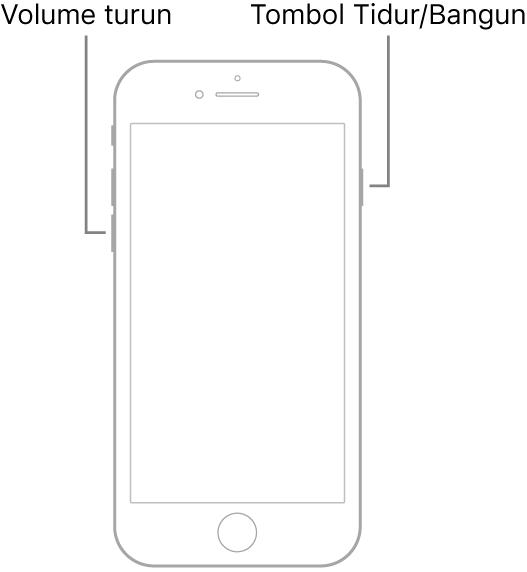 Ilustrasi iPhone 7 dengan layar menghadap ke atas. Tombol volume turun ditampilkan di sisi kiri perangkat, dan tombol Tidur/Bangun ditampilkan di sebelah kanan.