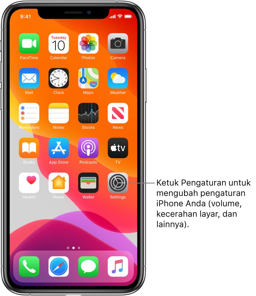 Layar Utama dengan beberapa ikon, meliputi ikon Pengaturan, yang dapat Anda ketuk untuk mengubah volume bunyi, kecerahan layar iPhone Anda, dan lainnya.
