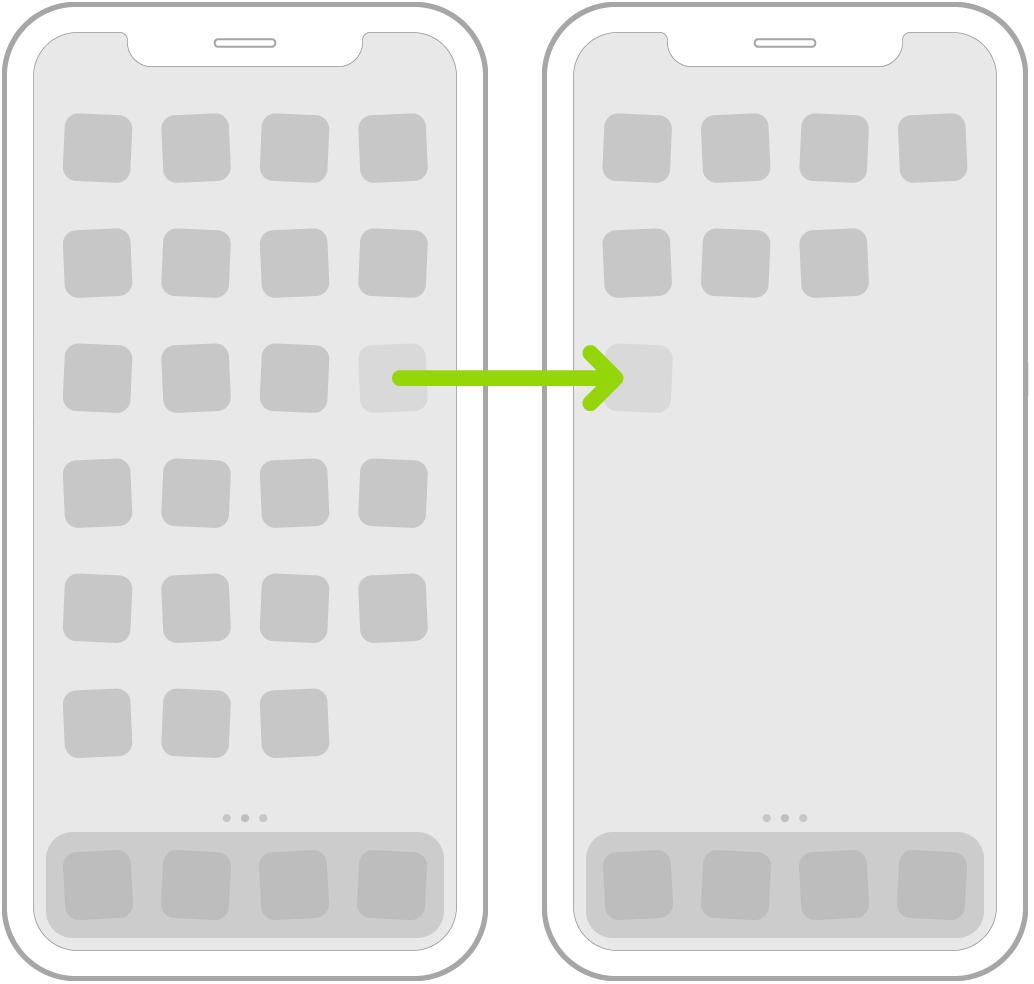 Ikon yang bergoyang di layar Utama dengan panah menampilkan satu ikon app sedang diseret ke halaman berikutnya.