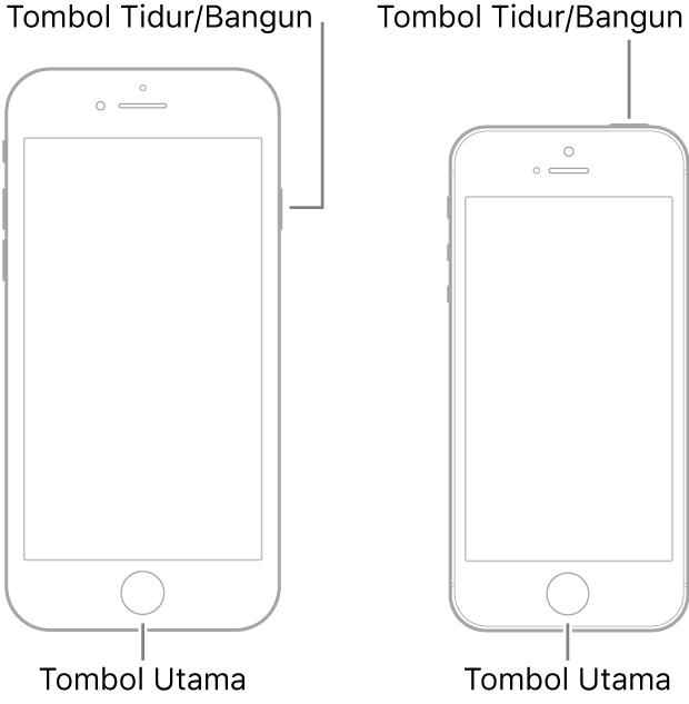Ilustrasi dua model iPhone dengan layar menghadap ke atas. Keduanya memiliki tombol Utama di dekat bagian bawah perangkat. Model paling kiri memiliki tombol Tidur/Bangun di tepi kanan perangkat di dekat bagian atas, sedangkan model paling kanan memiliki tombol Tidur/Bangun di bagian atas perangkat, di dekat tepi kanan.