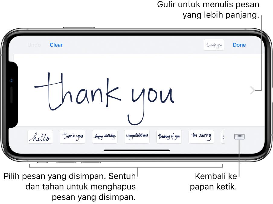 Layar tulisan tangan dengan pesan yang ditulis tangan. Di sepanjang bagian bawah, dari kiri ke kanan, terdapat pesan yang disimpan dan tombol Tampilkan Papan Ketik.