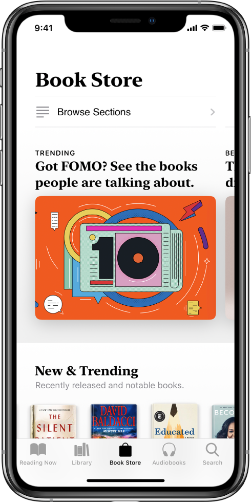 Di app Buku, layar di Toko Buku. Di bagian bawah layar, dari kiri ke kanan, terdapat tab Sedang Dibaca, Perpustakaan, Toko Buku, Buku Audio, dan Cari--tab Toko Buku dipilih. Layar juga menampilkan buku dan kategori buku untuk ditelusuri dan dibeli.