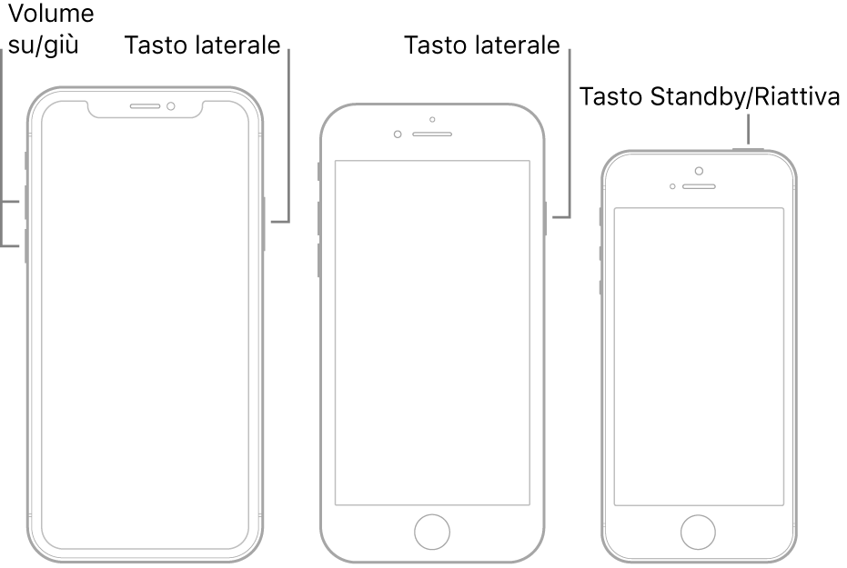 Immagini dei tre tipi di modello di iPhone, tutti con lo schermo rivolto verso l'alto. L'illustrazione sulla sinistra mostra i tasti per aumentare o ridurre il volume sul lato sinistro del dispositivo. Il tasto laterale viene mostrato sulla destra. L'illustrazione nel mezzo mostra il tasto laterale sulla destra del dispositivo. L'illustrazione sulla destra mostra il tasto Standby/Riattiva sulla parte superiore del dispositivo.