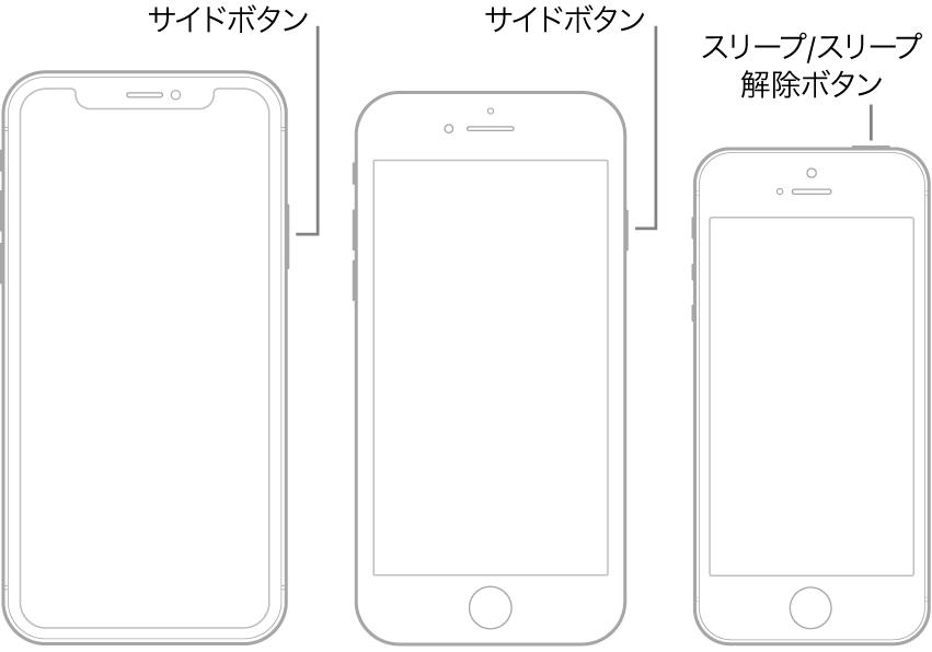 iPhoneのサイドボタンおよびスリープ/スリープ解除ボタンの位置を示す図。