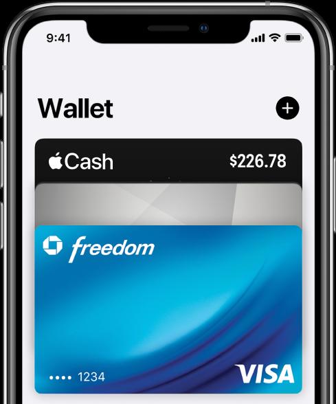 Wallet画面の上半分。複数枚のクレジットカードとデビットカードが表示されています。右上隅には追加ボタンがあります。