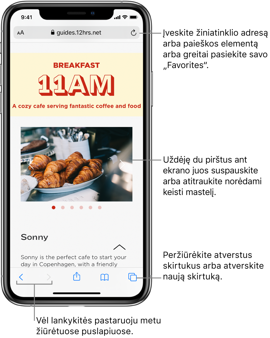 """""""Safari"""" lange atidarytas tinklalapis su adreso laukeliu viršuje. Apačioje iš kairės į dešinę yra mygtukai """"Back"""", """"Forward"""", """"Share"""", """"Bookmarks"""" ir """"Pages""""."""