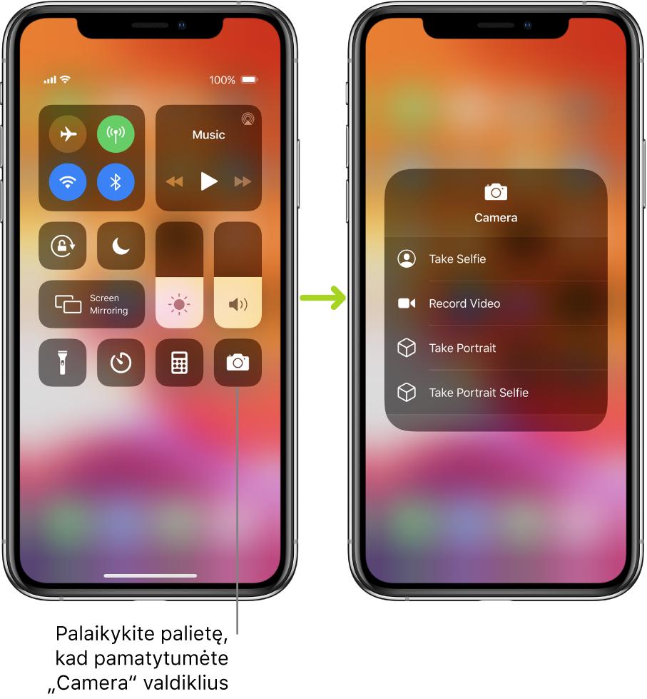 """Du """"Control Center"""" ekranai vienas prie kito – kairiojo ekrano viršutinėje kairiojoje grupėje rodomi lėktuvo režimo, mobiliojo ryšio duomenys, """"Wi-Fi"""" ir """"Bluetooth"""" valdikliai, taip pat nurodoma arba paliesti ir palaikyti apačioje esančią fotoaparato piktogramą, kad pamatytumėte """"Camera"""" parinktis. Dešiniajame ekrane rodomos papildomos """"Camera"""" parinktys. """"Take Selfie"""", """"Record Video"""", """"Take Portrait"""" ir """"Take Portrait Selfie""""."""