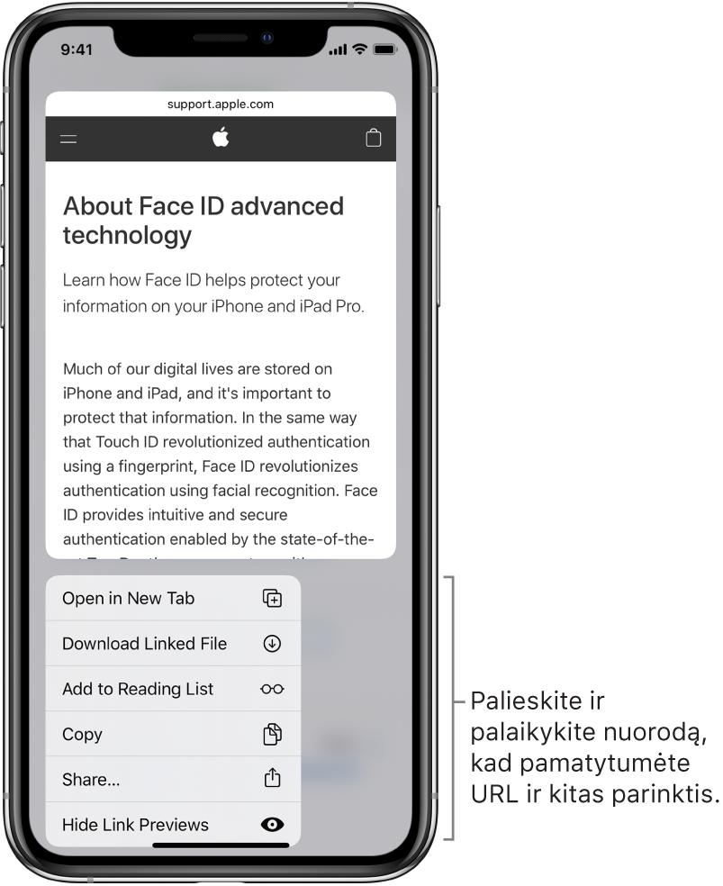 Perdanga, kurią naudojant pateikiama paskirties URL peržiūra, ir galimų veiksmų sąrašas: atidaryti, įtraukti į skaitymo sąrašą, įtraukti į nuotraukas, kopijuoti ir bendrinti.