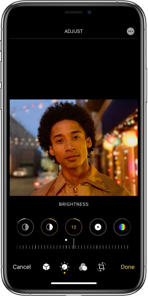 Redagavimo ekranas su viduryje rodoma nuotrauka. Žemiau nuotraukos rodomi akcentų, šešėlių, skaisčio, juodos spalvos taško ir soties redagavimo mygtukai. Pasirinktas skaisčio mygtukas. Žemiau redagavimo mygtukų rodomas skaisčio lygio koregavimo slankiklis. Po slankikliu iš kairės į dešinę išdėstyti atšaukimo, portreto, redagavimo, filtrų, apkarpymo ir atlikimo mygtukai. Viršutiniame dešiniajame kampe rodomas papildomų parinkčių mygtukas.