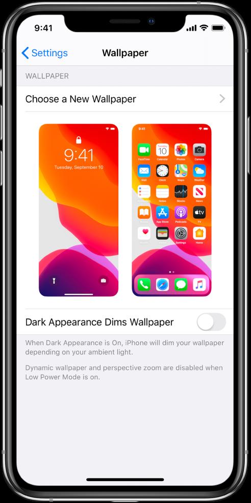 Fono nustatymų ekranas su naujo fono parinkimo mygtuku viršuje ir užrakinimo ekrano bei pradžios ekrano su dabartiniu fonu vaizdai.