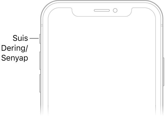 Bahagian atas hadapan iPhone dengan petak bual menuding ke arah suis Dering/Senyap.