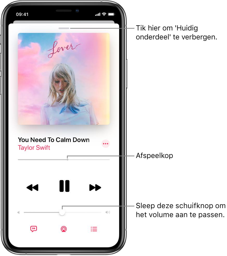 Het scherm 'Huidig onderdeel' met de albumillustratie. Hieronder zie je de titel van het nummer, de artiest, de knop 'Meer', de afspeelkop, afspeelregelaars, de volumeschuifknop, de songtekstknop, de afspeelbestemmingsknop en de knop 'Volgende'. De knop voor het verbergen van het huidige onderdeel bevindt zich bovenin.