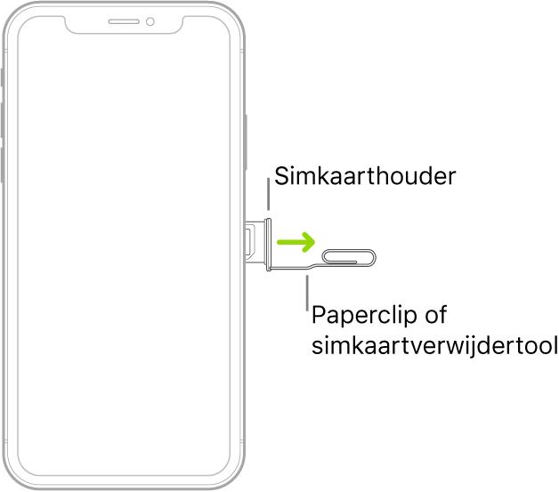 Een paperclip of de simkaartverwijdertool is in de opening van de houder aan de rechterkant van de iPhone geplaatst om de houder te verwijderen.