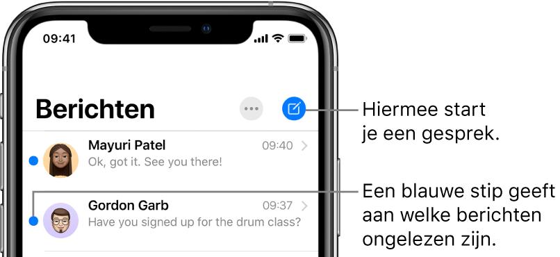 De lijst met berichten, met linksbovenin de knop 'Wijzig' en rechtsbovenin de knop voor het opstellen van een nieuw bericht. Een blauwe stip links naast een bericht geeft aan dat het ongelezen is.