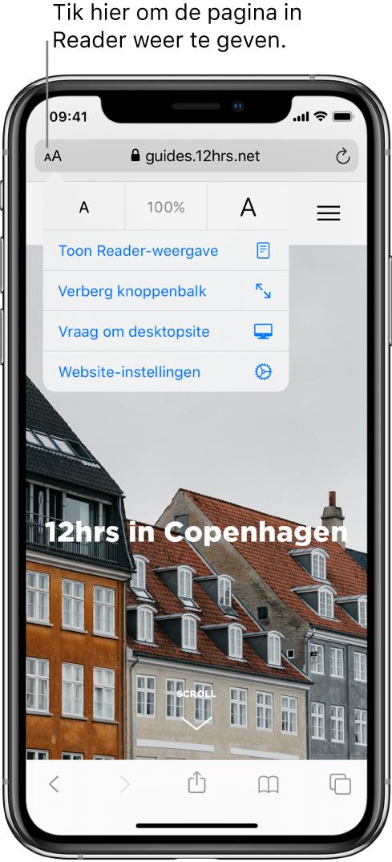 Het adresveld in Safari, met links de Reader-knop.
