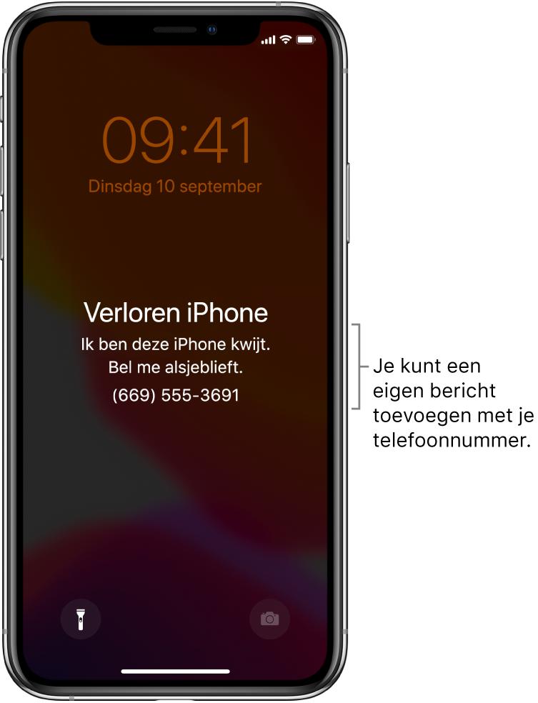 """Het toegangsscherm van een iPhone met het bericht: """"Verloren iPhone. Ik ben deze iPhone kwijt. Bel me alsjeblieft. (669) 555-3691."""" Je kunt een eigen bericht toevoegen met je telefoonnummer."""