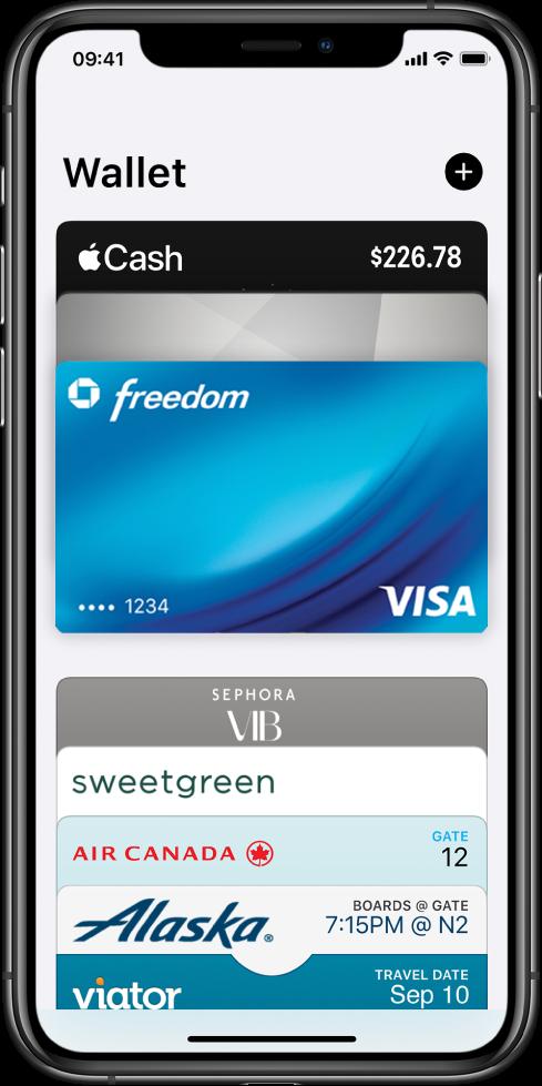 Een scherm in Wallet. Boven in het scherm zijn drie creditcards te zien. Onder in het scherm staan enkele instapkaarten en reistickets.
